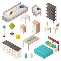 Conjunto de mobília home isométrica
