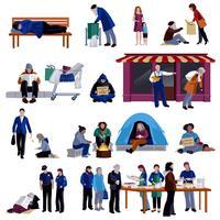 Conjunto de ícones de pessoas desabrigadas