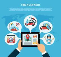 Conceito de localizador de lavagem de carro vetor