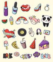 Conjunto de emblemas de remendo de moda colorida vetor