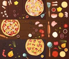 Conjunto De Banners De Pizza vetor