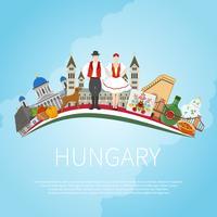 Visite o conceito da nuvem de Hungria vetor