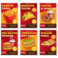 Conjunto de cartazes de fast food vetor