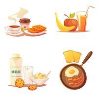 Quatro composições de ícones de pequeno-almoço