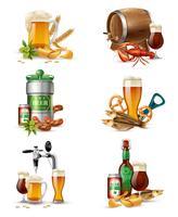 Conjunto de ilustrações de cerveja de esboço vetor