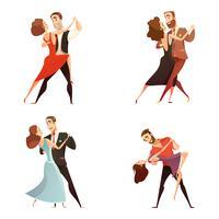Conjunto de desenhos animados retrô de par de dança vetor