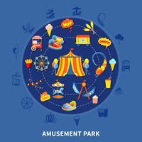 Parque de diversões definir ilustração vetorial