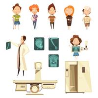 Coleção de ícones de desenhos animados de raio-x de lesão óssea