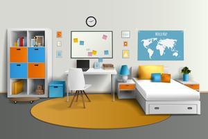 Imagem realística do design de interiores da sala do adolescente