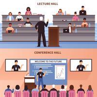 Palestra e conjunto de Banner de salão de conferências vetor