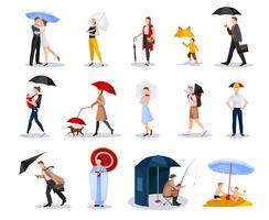 Pessoas com coleção de guarda-chuvas vetor