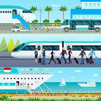 Conjunto de Banners de modos de transporte vetor