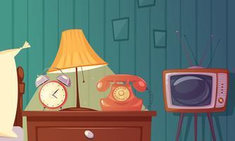 Retro Gadgets Cartoon Composição vetor