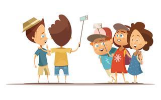 Crianças, fazendo, selfie, caricatura, estilo, ilustração vetor