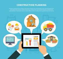 Conceito de diagrama de planejamento de construção plana vetor