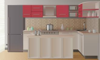 Composição Interior De Cozinha vetor