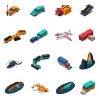 Conjunto isométrico de acidentes de transporte vetor