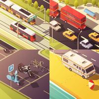 Transporte, conceito, ícones, jogo vetor