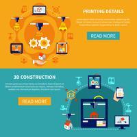Detalhes de impressão e 3d banners horizontais de construção vetor