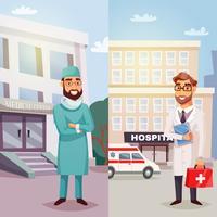 Banners verticais de médicos alegres