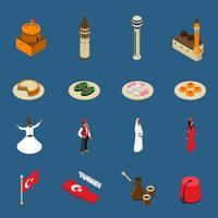 Coleção de ícones de símbolos turísticos isométrica turca