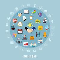 Composição de rodada de pictogramas de negócios vetor
