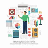 Ventilação Condicionamento Infograhics Aquecimento vetor