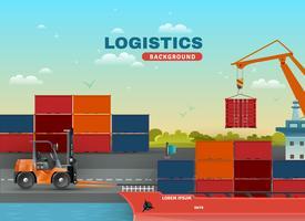 Fundo de frete marítimo logístico vetor