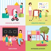 Conjunto de ícones de conceito de jardim de infância vetor