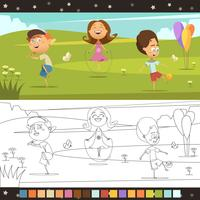 Crianças colorir página