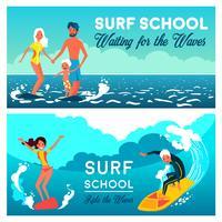 Banners horizontais de escola de surf vetor
