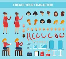 Composição plana de construtor de personagem feminina vetor