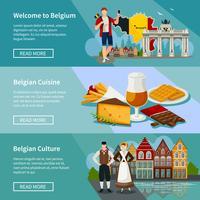Conjunto de Banners horizontais de Bélgica estilo Flat vetor