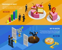 Banners horizontais isométricos de desenvolvimento de negócios