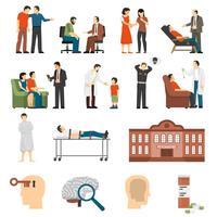 Conjunto de ícones de conselhos de psicólogo vetor