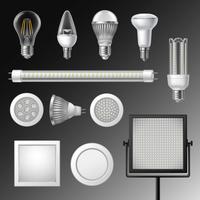 Conjunto de lâmpadas led realista vetor