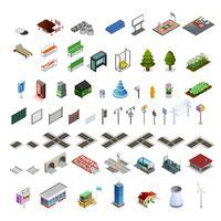 Coleção de elementos isométricos de construtor de mapa de cidade vetor