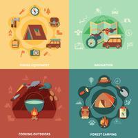 Camping set plana vetor