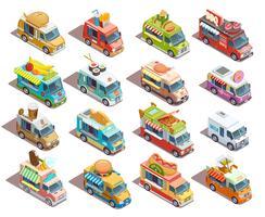 Coleção de ícones isométrica de caminhões de comida de rua vetor