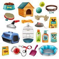 Conjunto de elementos de cuidados de animais de estimação vetor