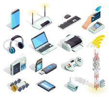 Conjunto de ícones isométrica de dispositivos de tecnologia sem fio vetor