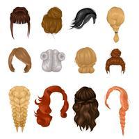 Conjunto de ícones realista de perucas mulheres penteado vetor