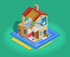 Modelo isométrico de reparo em casa vetor