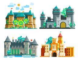 Conjunto de castelos coloridos vetor