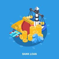 Composição redonda isométrica do empréstimo bancário vetor