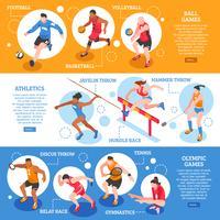Banners horizontais isométricos de esportistas