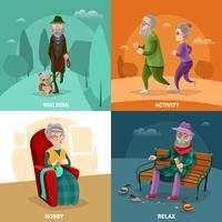 Pessoas idosas, caricatura, conceito vetor