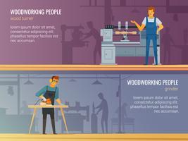 Serviço de Carpintaria de Carpintaria 2 Faixas Planas vetor