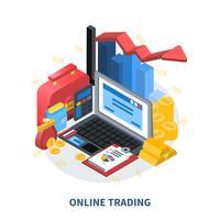 Composição isométrica de negociação on-line vetor
