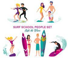 Conjunto de elementos decorativos de escola de surf vetor